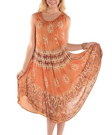 Another great find on #zulily! Beige Batik Midi Dress - Plus by Shoreline #zulilyfinds