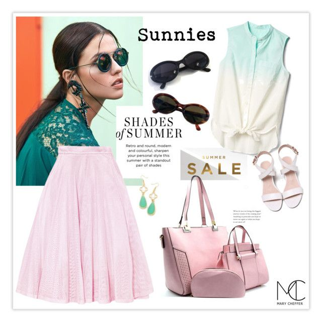 """""""Sunnies Sale"""" by mcheffer ❤ liked on Polyvore featuring Monica Vinader, Gap, Maje, sunglasses and sunnies"""