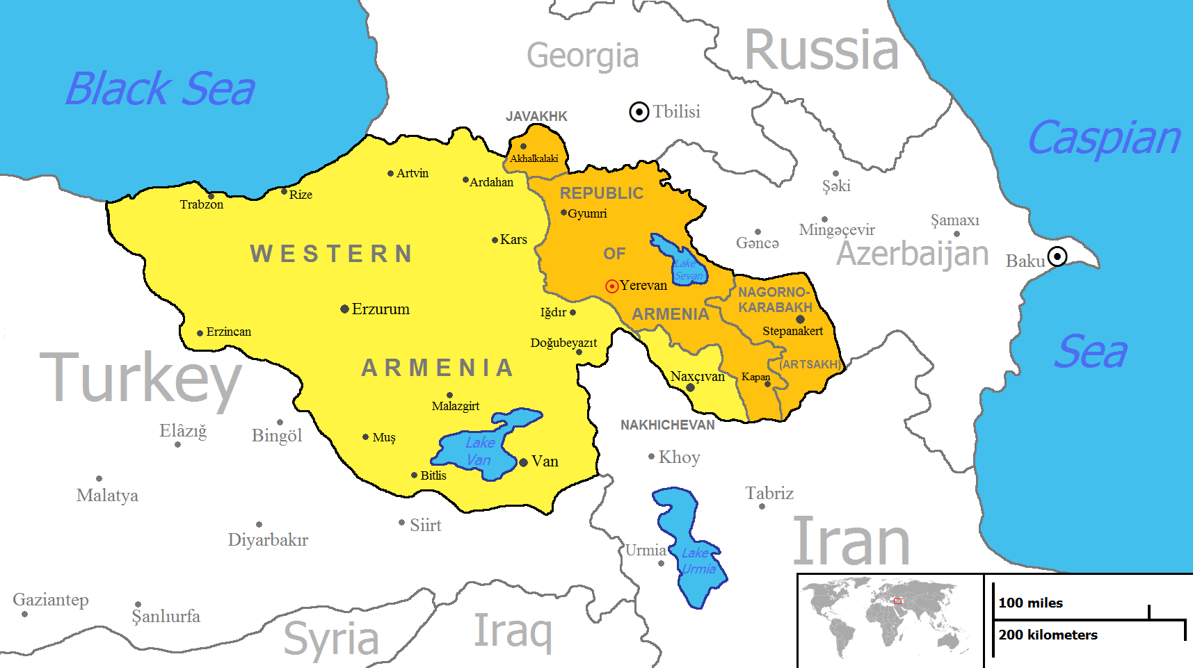 The modern concept of United Armenia as claimed by the Armenian
