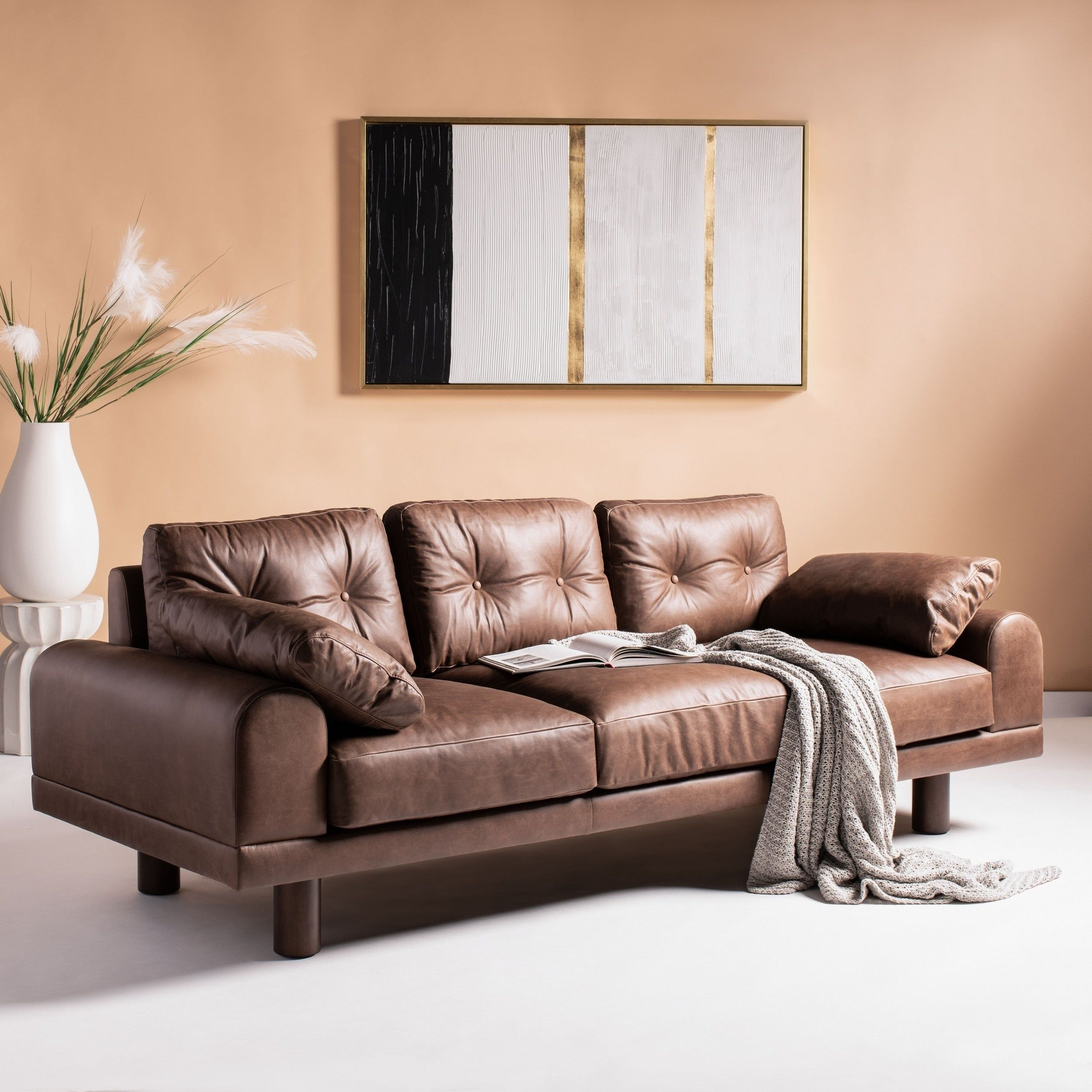 Safavieh Couture Scooter Italian Leather Sofa Brown Leather