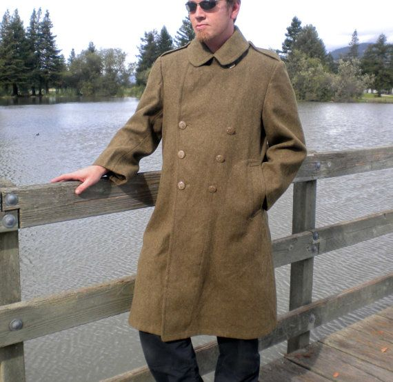 Vintage Wool Coat Men's WWII Army Military Jacket 1942