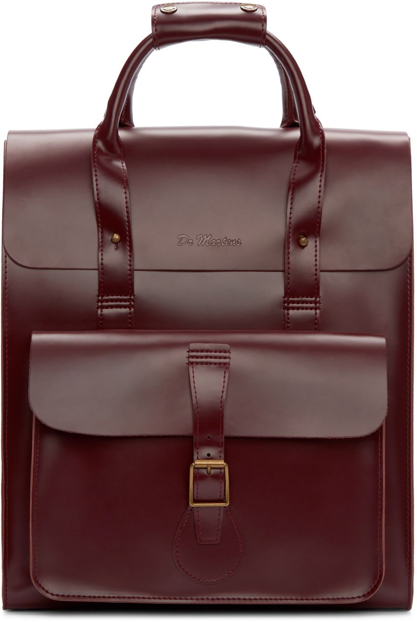 eb4a13a42 Dr. Martens: Red Leather Backpack | Structured buffed leather backpack in ' cherry' red. Tonal leather trim throughout. Twin carry handles at top.