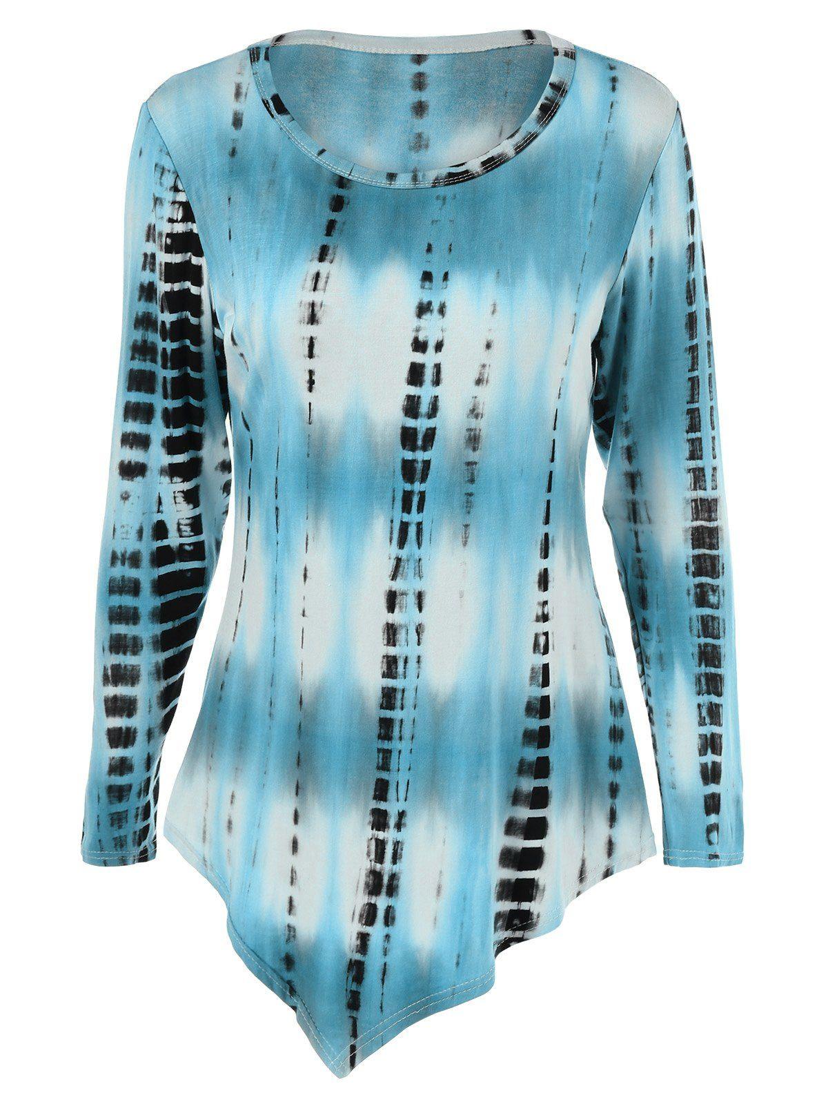 b4a73a59d90 Plus Size Asymmetric Tie-Dye T-Shirt
