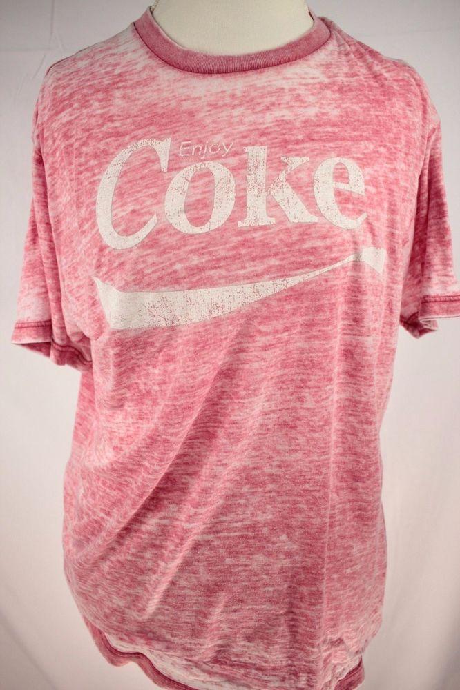 852fc313445 Coca Cola Vintage Mens T-Shirt size Large Red Burnout Graphic Tee Retro Coke