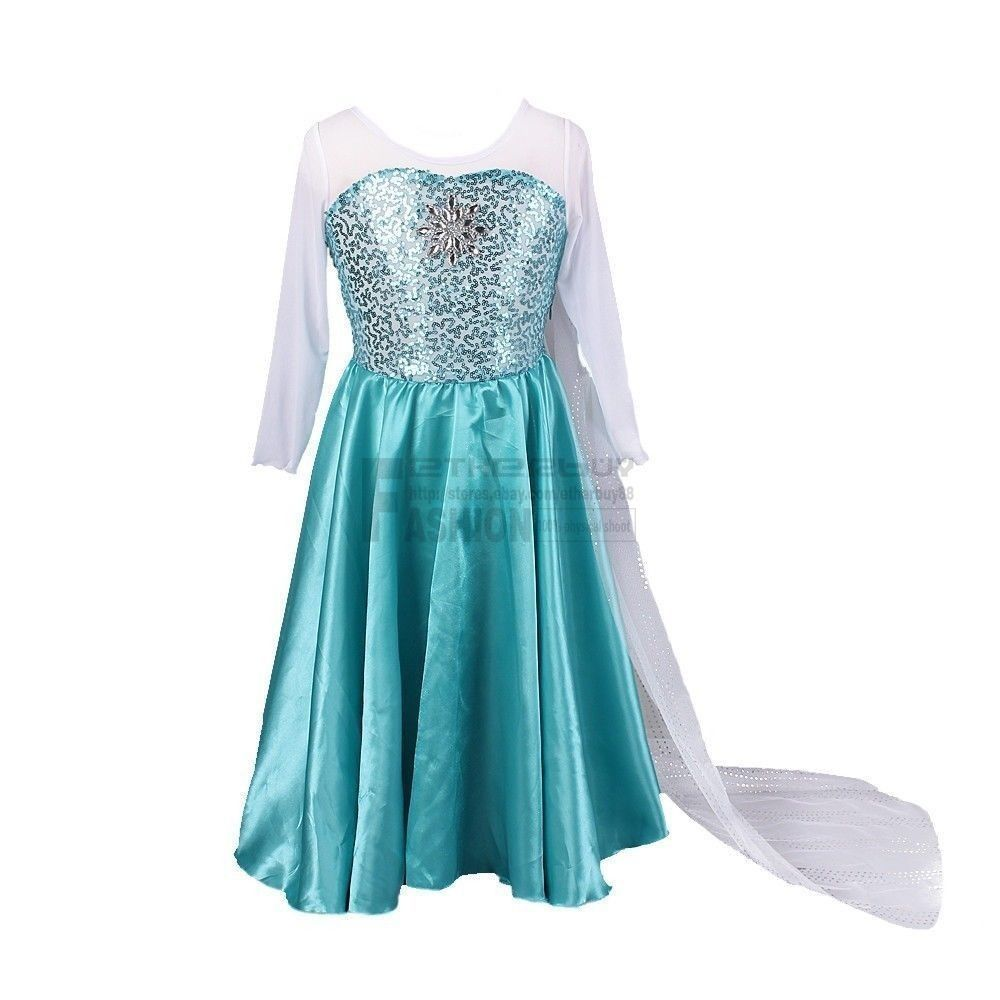 Christmas Girls Kids Frozen Queen Elsa Costume Princess Anna Party ...