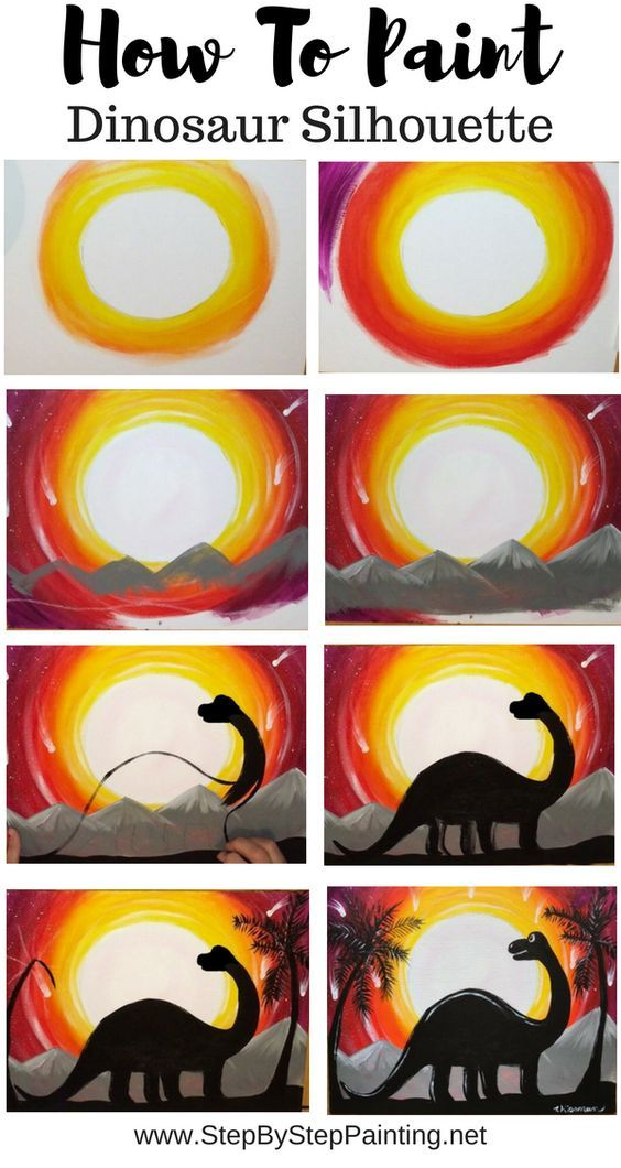 How To Paint A Dinosaur Silhouette Step By Step Painting Canvas Painting Diy Dinosaur