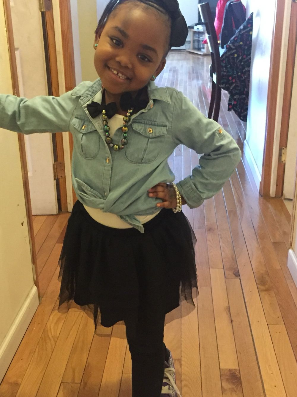Jean Shirt Black Leggings Tutu Skirt And Sparkling Converse Joziesstyle