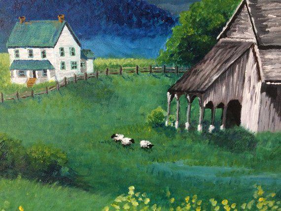 Ancienne Peinture Grange Ferme Paysage Paysage Peinture Etsy Barn Painting Painting Scenery