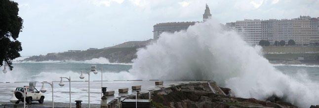Temporal en La Coruña en enero de 2014
