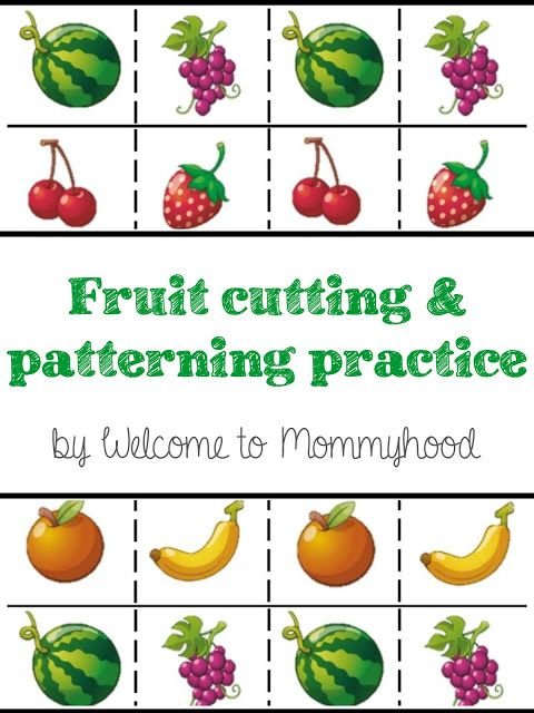 Fruits Cutting Strips for scissor practice for preschoolers