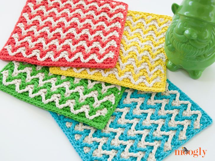 Bright Chevron Dishcloth -free crochet pattern- (365 Crochet ...