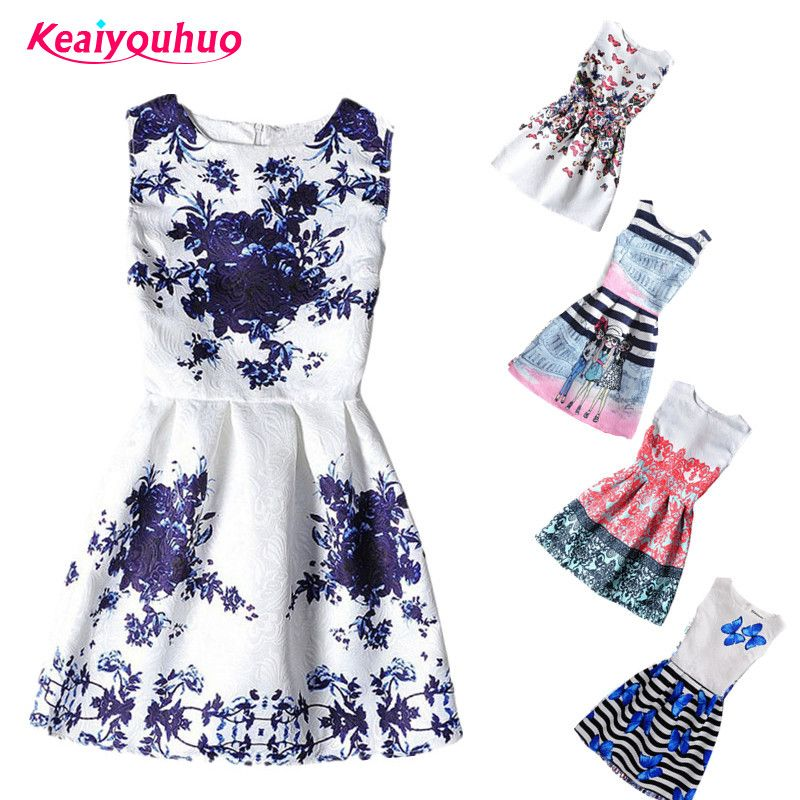 0b528bf8e 2017 Summer Kids Dresses For Girl Butterfly Floral Printed ...