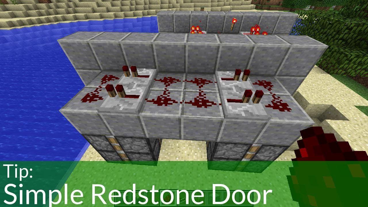 How To Make A Simple Minecraft Redstone Door Jeb Door Minecraft