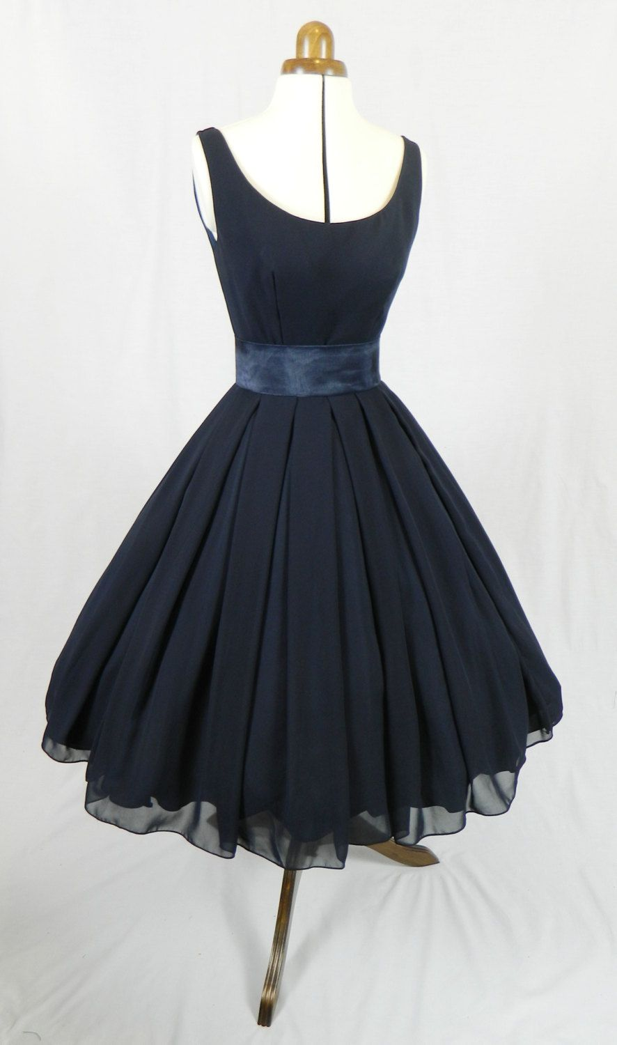 Another Of Our 50s Style Elegant Cocktail Dresses In Navy Chiffon With Slim Satin Shantung Waist Band Elegant Cocktail Dress Dresses 50s Fashion [ 1500 x 886 Pixel ]