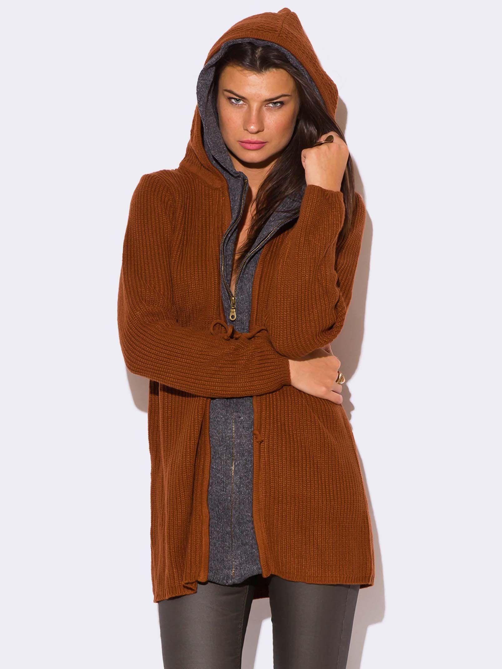 RUST BROWN ZIP UP HOODED SWEATER | Things to Wear | Pinterest ...