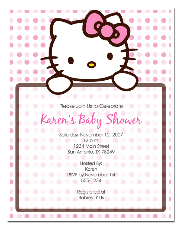 hello kitty invitation Hello Kitty Baby Shower Invitations Party
