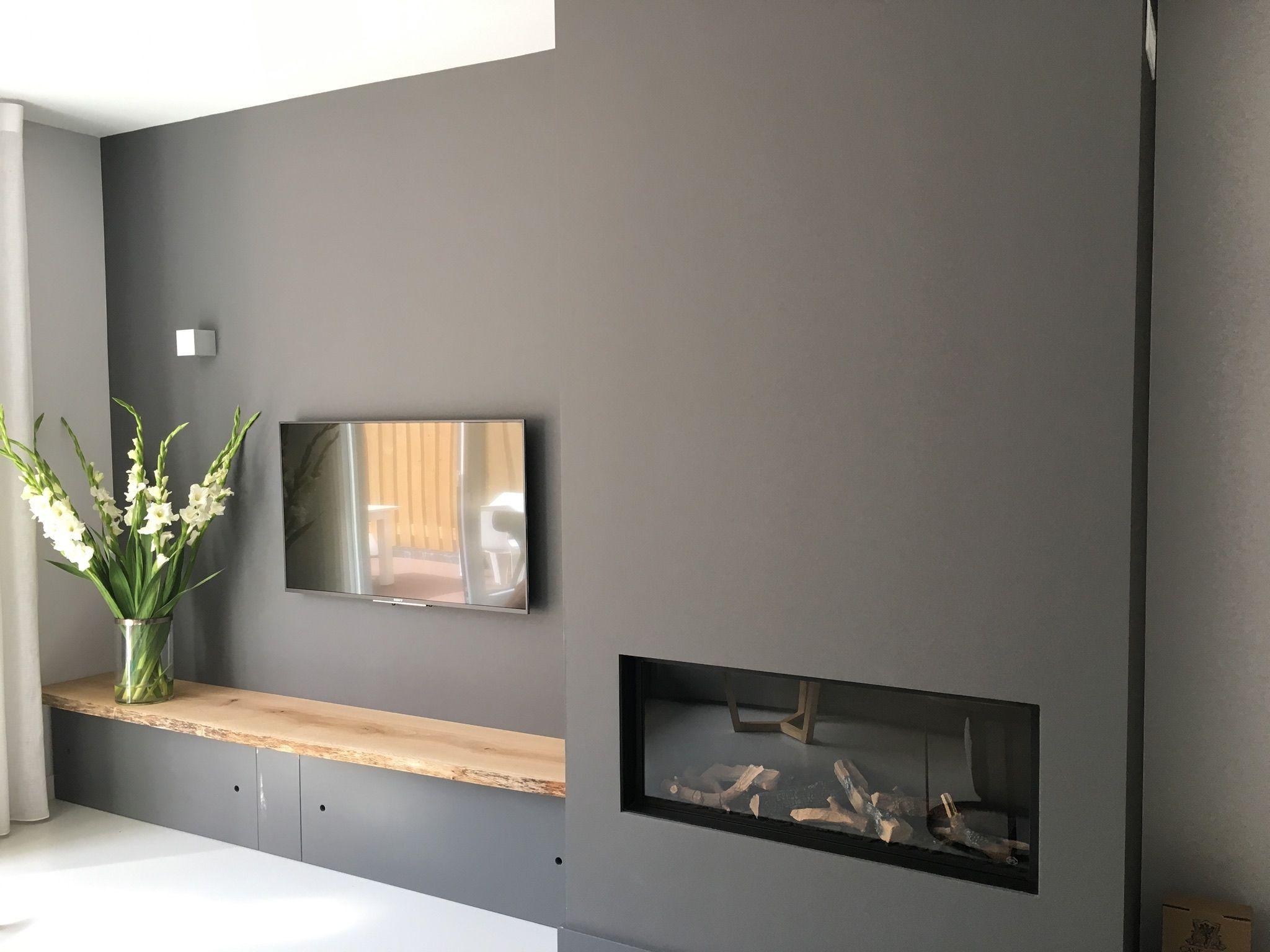 R Sultats De Recherche D Images Pour Inbouwhaard Tv Voorbeelden  # Bibliotheque Murale Pour Televiseur Avec Foyer Electrique
