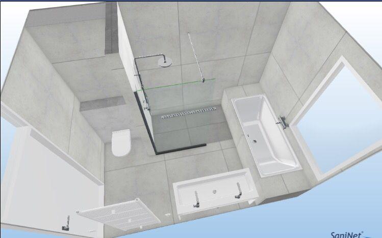 Indeling badkamer bad wc inloopdouche dubbele wastafel handdoek ...
