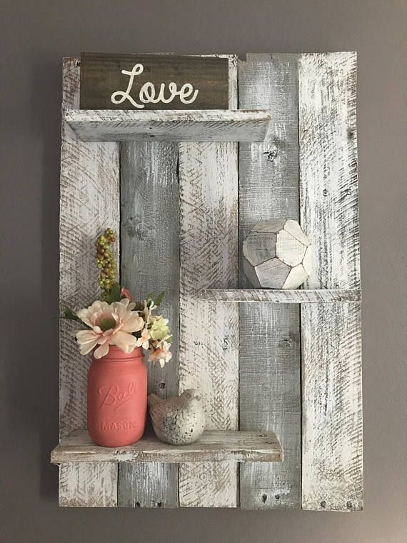 Photo of Gray pallet wall shelf, pallet wall shelf, bedroom decor, bedroom wall shelf, wall shelf, bat…