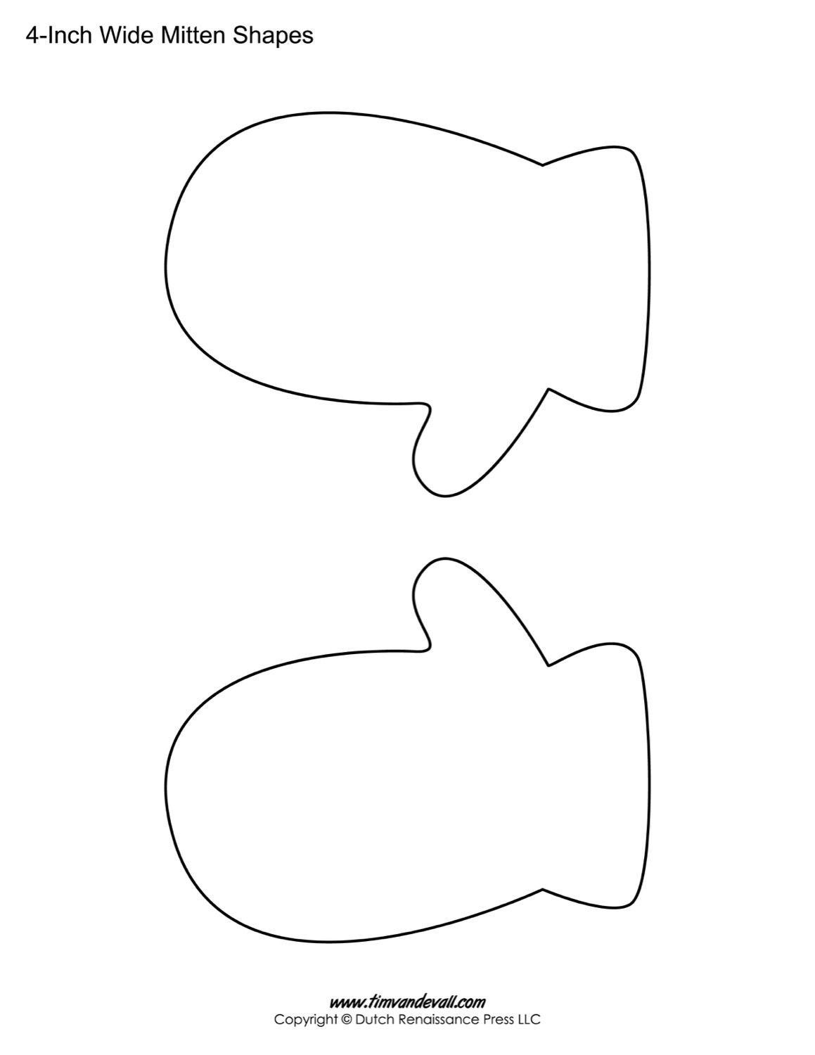 photo relating to Printable Mitten Pattern referred to as Printable Mitten Templates Blank Mitten Form PDFs