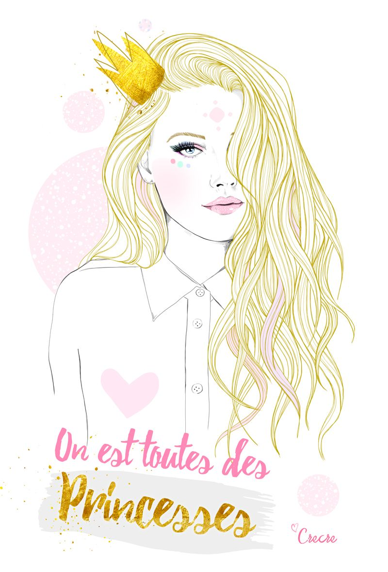 Toutes des princesses crecre illustration girly fille belle blog crecre illustrations - Dessin de fille belle ...