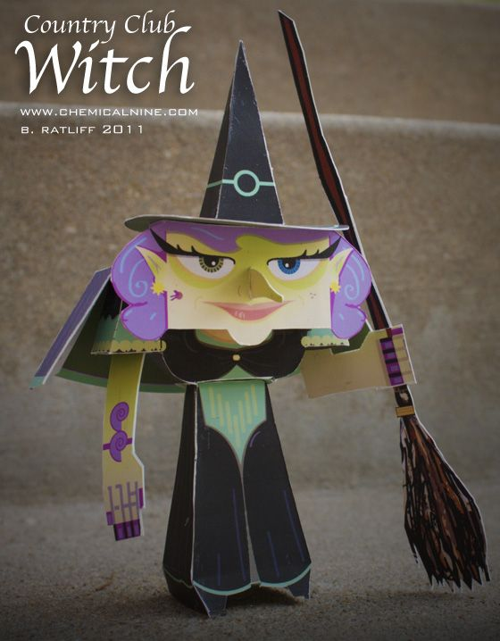 Chemical9 Country Club Witch paper toy and printable template