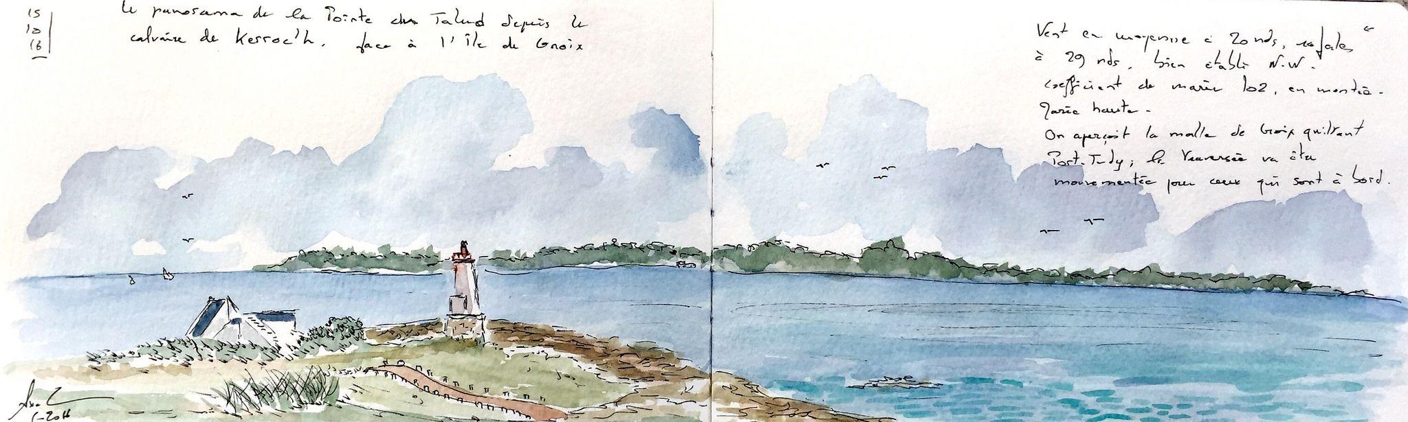 https://flic.kr/p/MS6ZnL | La Pointe du Talud près de Lorient, Morbihan | Encre et aquarelle sur #Moleskine A5 double page, par vent fort qui fait trembler la main