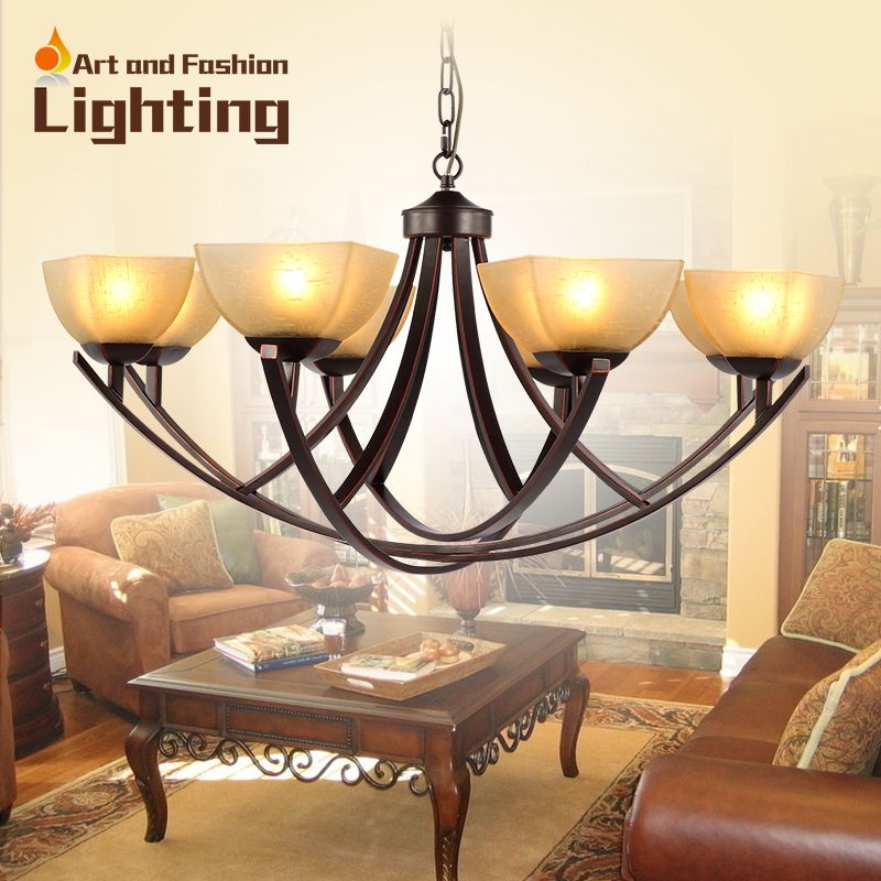 Clical Wrought Iron Chandelier 8 Lights Champagne Color Frosted Gl Light Shade Curved Support Ch057
