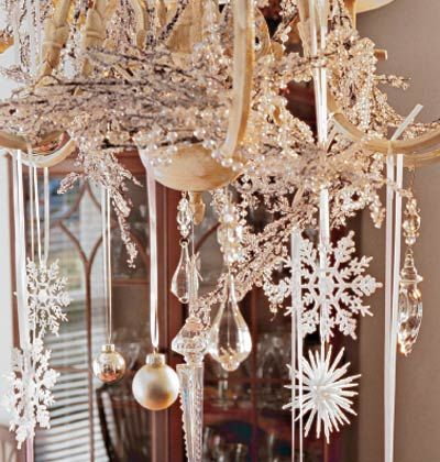 Site has 7 ideas for decorating chandeliers havent got one but snow flake silver ornaments and crystals hanging from chandelier aloadofball Choice Image
