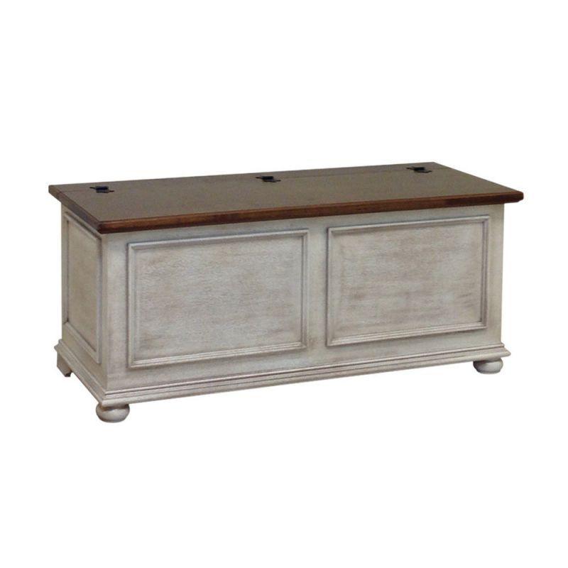 cassapanca in legno shabby chic bianco decape' e noce art 2112/bn