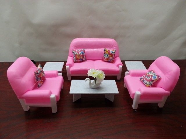 Details about Gloria Barbie Doll House Furniture Living Room Play Set