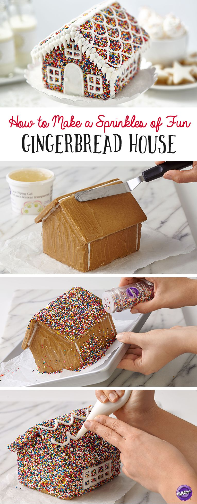 How to Make a Sprinkles of Fun Gingerbread House - Sprinkles make everything more fun, even your holiday gingerbread house! Adding rainbow nonpareils turns this iconic holiday centerpiece into a kaleidoscope of color.