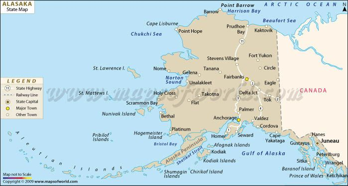 Alaska Map With Cities This Alaska Map Shows Alaska S Location In The U S Alaska Map Alaska State Map