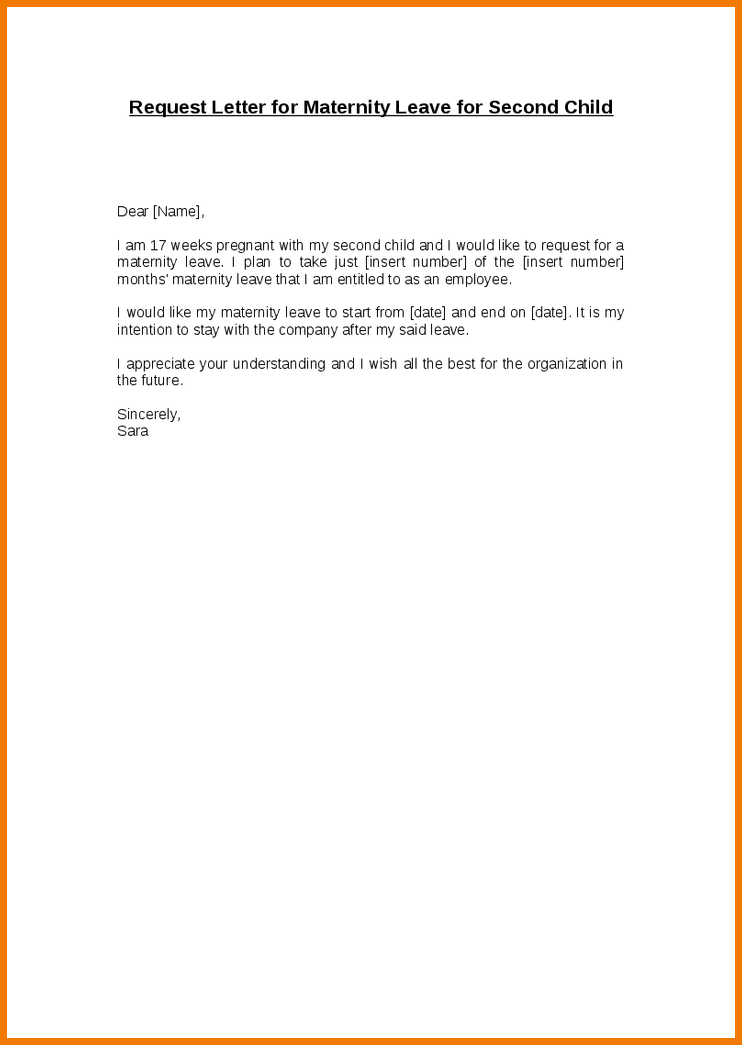 maternity letterquest letter for leave second child free template ...