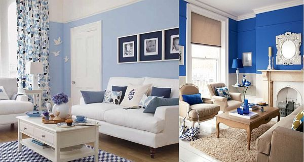 Blue And White Living Room Interior Design Ideas   Living Room Part 13