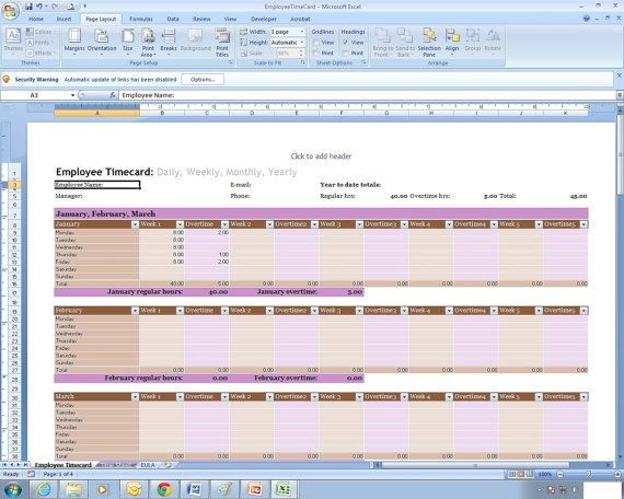Employee Time Sheet Excel Spreadsheet Template in 2018 Products