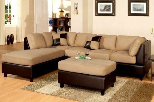 Poundex New Two Tone Leatherette And Micro Suede Sectional Sofa Set With Ottoman Includes Pillows Reversable Chaise In Brown 781 98 From