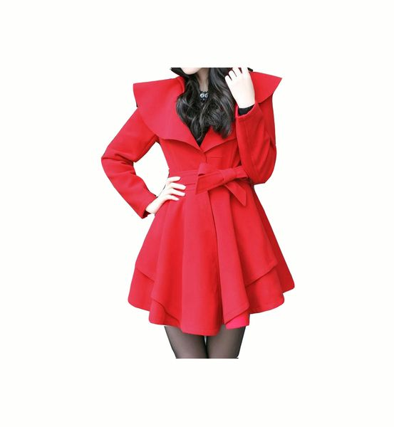 This listing is only for size XS-S in red color, please check the measurement below.  This coat is made of mixed woolen fabric consisiting 65% wo...