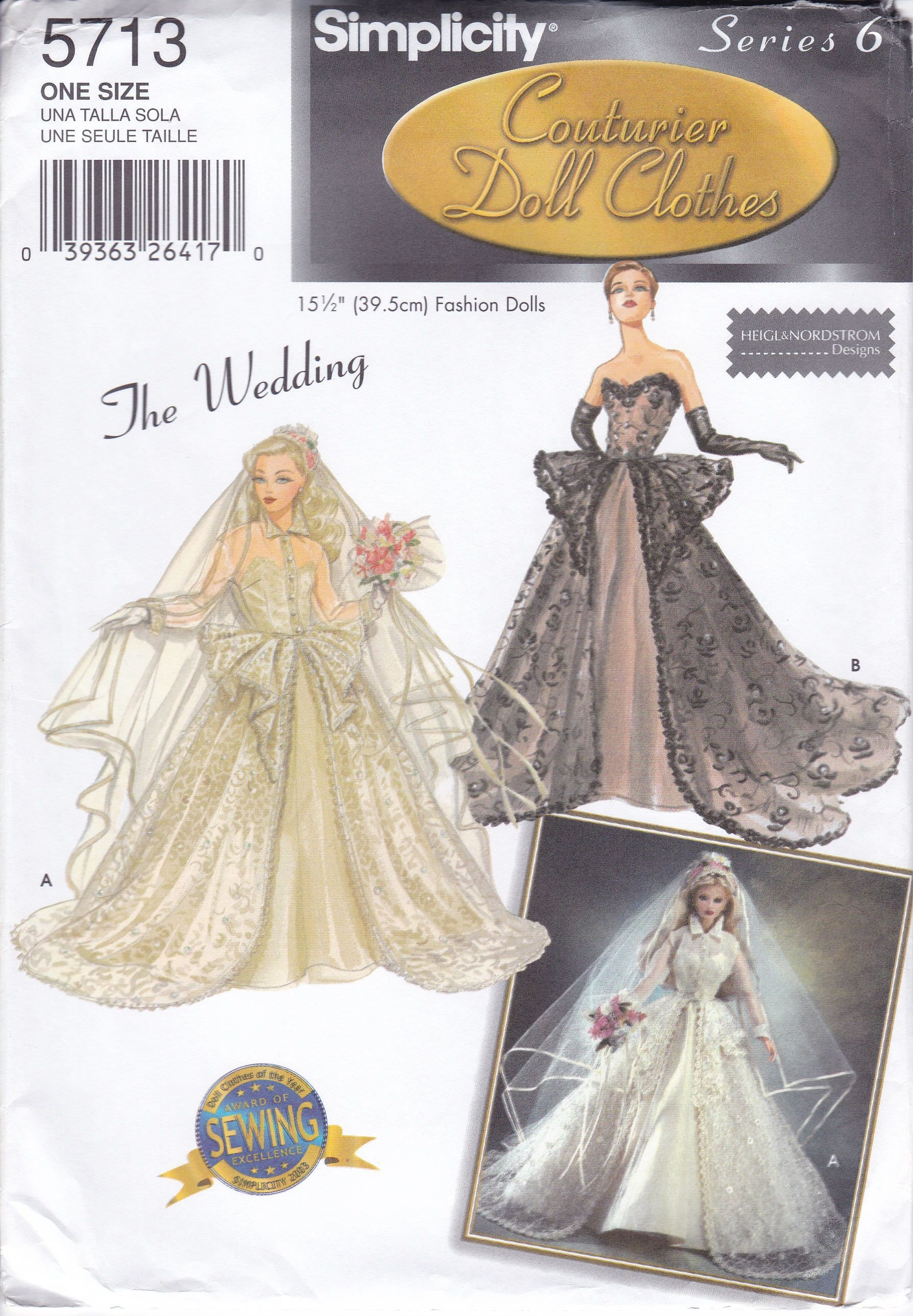 "Simplicity 5800 11 1//2"" Doll Clothes Victorian Bridal Dress Pattern Uncut"