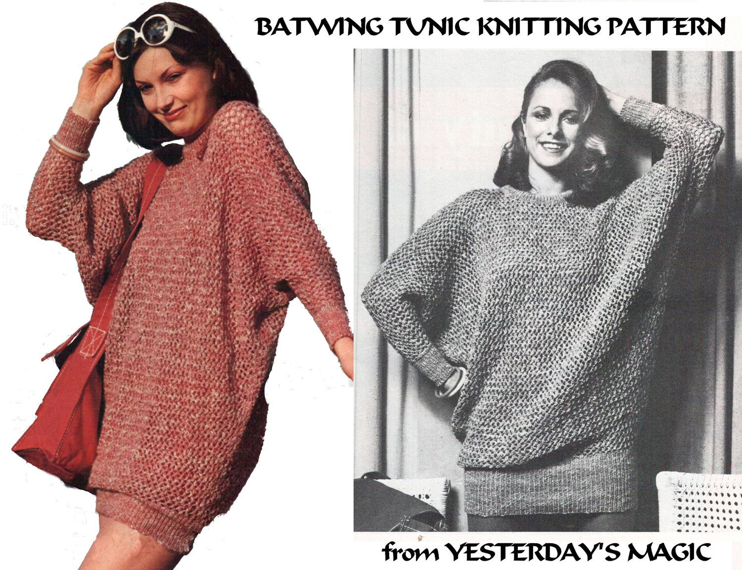 Instant download pdf knitting pattern to make a womens thigh instant download pdf knitting pattern to make a womens thigh length baggy loose fit batwing tunic sweater dress 4 sizes 32 to 38 inch bust bankloansurffo Images