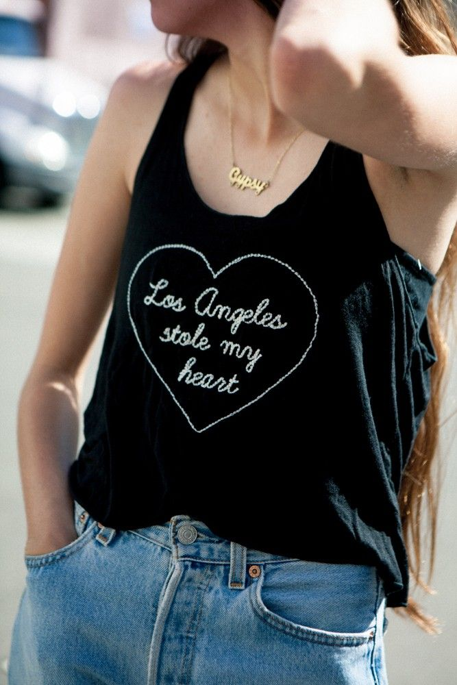 Brandy ♥ Melville | Cindy LA Stole My Heart Embroidery Tank - Graphics
