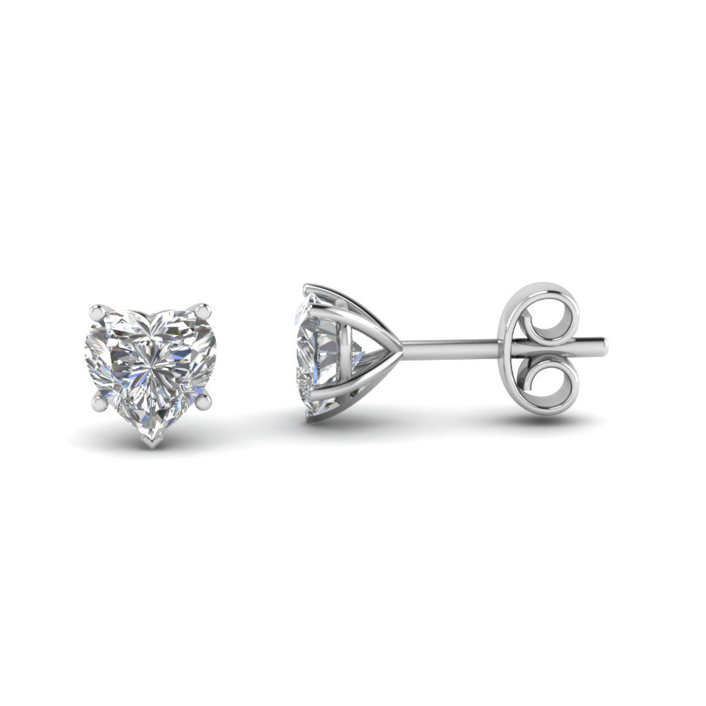 ee2525ec4 5 Prong Heart Diamond Stud Earring | Wedding inspiration | Jewelry ...