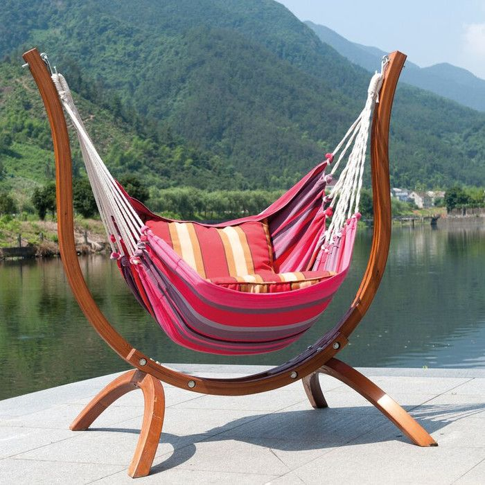SunTime Outdoor Living Patagonia Wooden Striped Chair Hammock ...