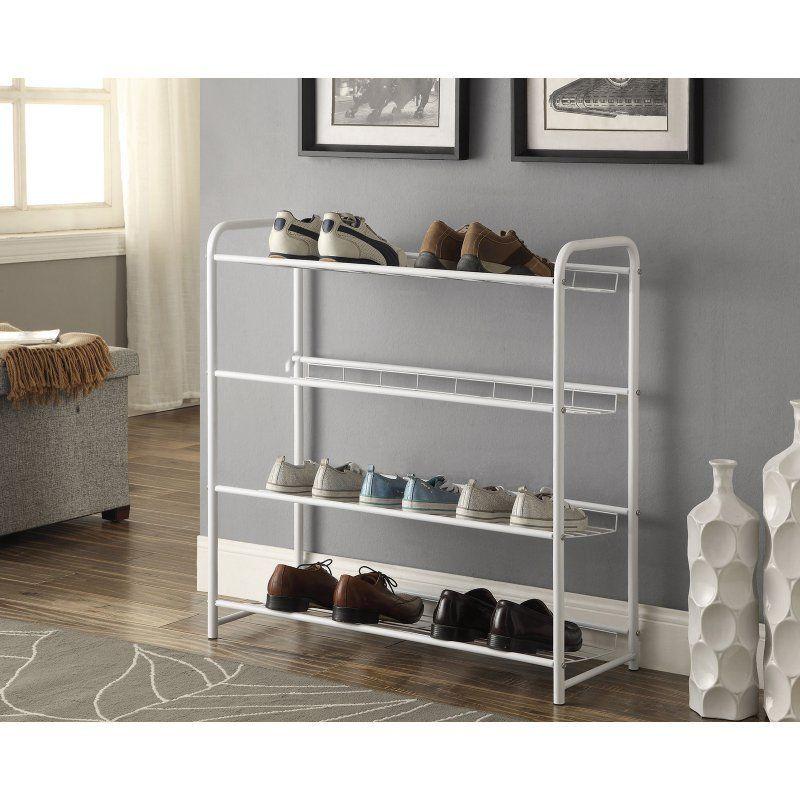 Coaster Company of America 4 Shelf Metal Shoe Rack - White - 950017 | Shoe rack. Metal shoe rack. Shoe storage rack