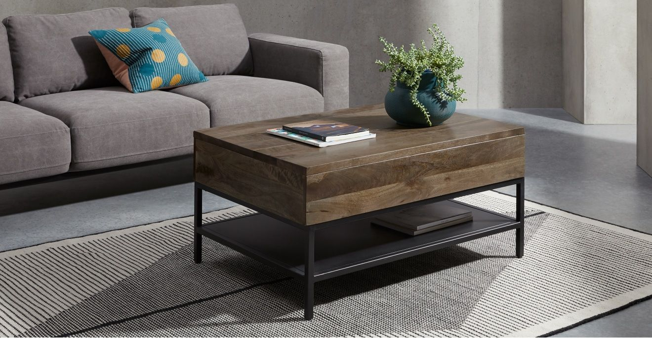 Lomond Lift Top Coffee Table With Storage Mango Wood And Black Made Com Coffee Table Lift Top Coffee Table Round Coffee Table Modern