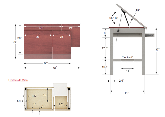 Drafting table dimensions google search drafting table for Blueprint sizes