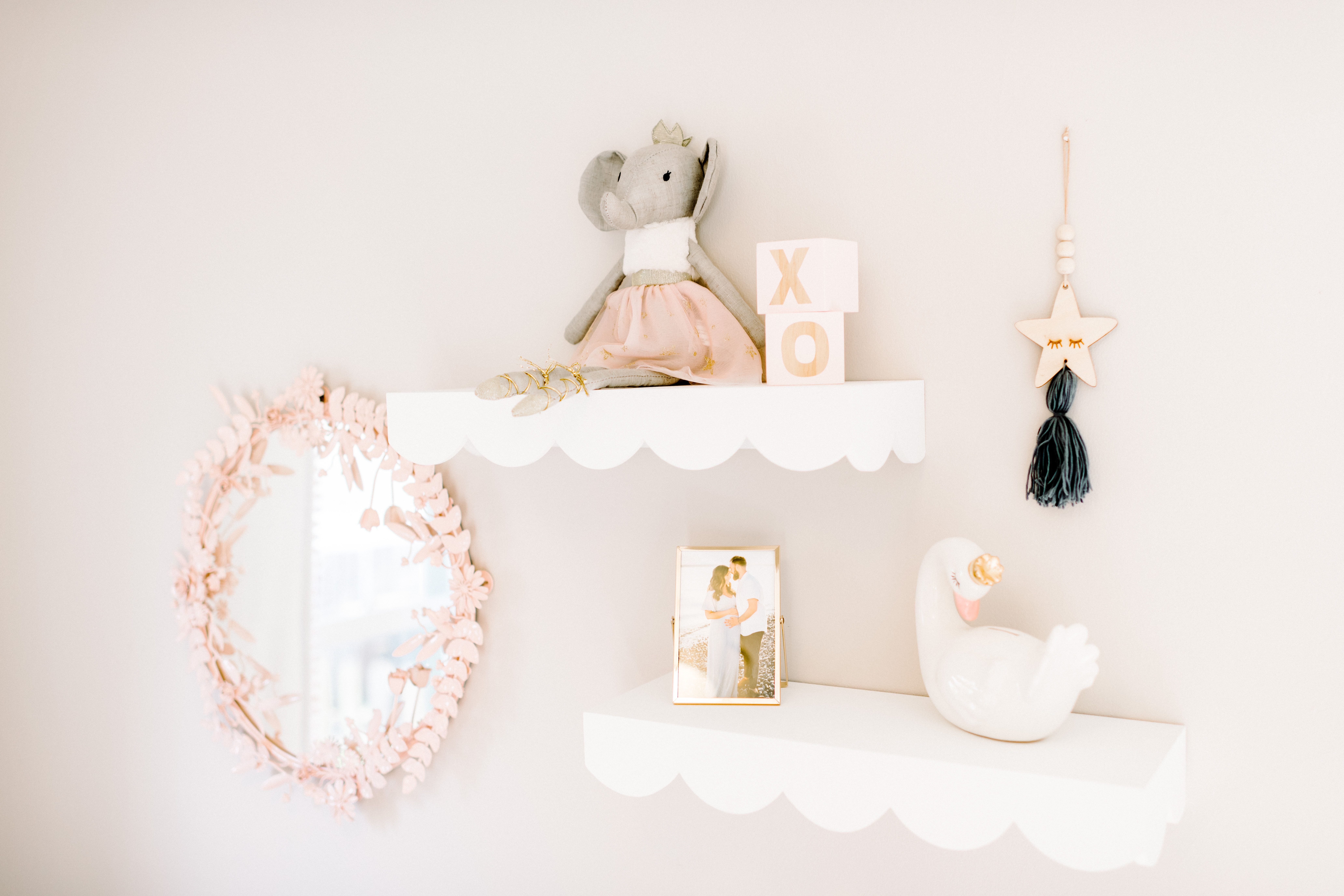 Whimsical Floral Nursery Project Nursery In 2020 Nursery Shelf Decor Nursery Wall Decor Girl Nursery Shelves