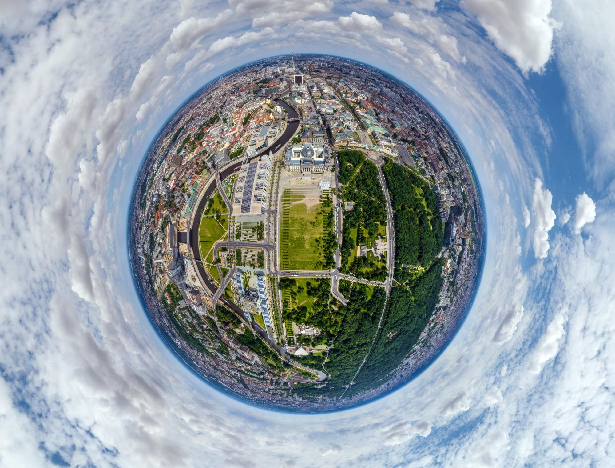 World city panoramas transformed into 360-degree globes – in