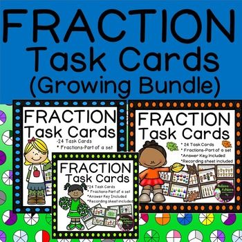 Fraction Task Cards-(Fractions-Parts of a Set-GROWING BUNDLE)This is a GROWING…