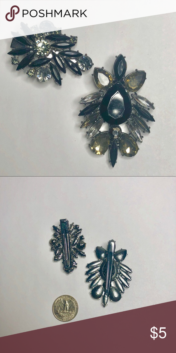 Hair Clip Black And Silver Rhinestone Bundle Two Decorative